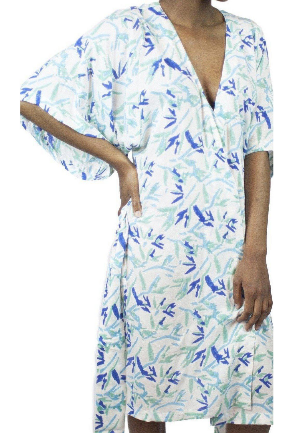 Bird of Paradise Robe in Ocean Blues