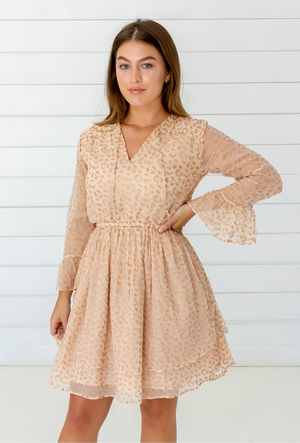 Leopard Chiffon Dress in Blush + Gold
