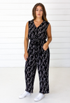 Stylized Feather Sleeveless Jumpsuit in Black + Cream