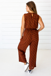 Leopard Sleeveless Jumpsuit in Sierra + Black