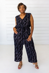 Ginkgo Leaf Cropped Jumpsuit in Navy + Cream