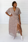 Leopard Maxi Wrap Dress in Blush + Black