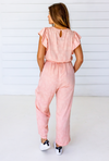 Tattoo Floral Ruffle Jumpsuit in Blush + Cream
