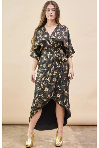 Baby Cacti Midi Wrap Dress in Black + Cream