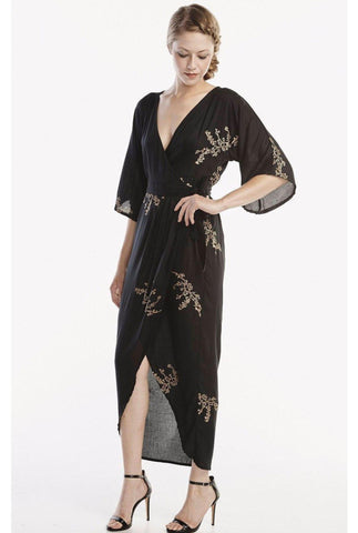 Peacock Feather Maxi Wrap Dress Lipstick Red + Gold