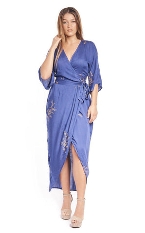 Peacock Feather Wrap Dress in Navy + Gold