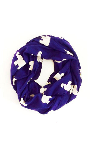 Kissing Elephants Infinity Scarf in Navy