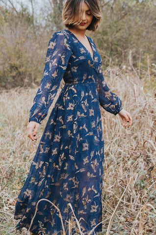 Dancing Umbrellas Twisted Midi Dress in Navy + Metallic