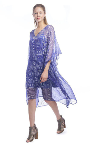 Beaded Peacock Deep V Caftan