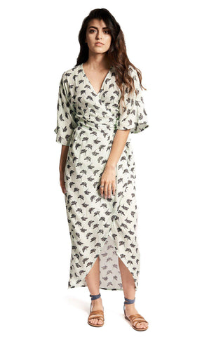 Tie Front Maxi in Black & White Hibiscus Flower