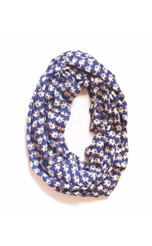 Navy & Cream Marching Elephants Infinity Scarf