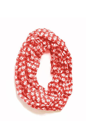 Marching Elephants Infinity Scarf in Red