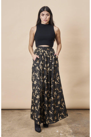 Gingko Leaf Midi Skirt Green & Gold
