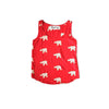 Kissing Elephant Tank in Red + Soft Buttercream