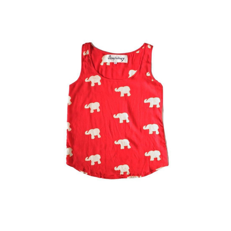 Marching Elephants Tank in Red + Cream