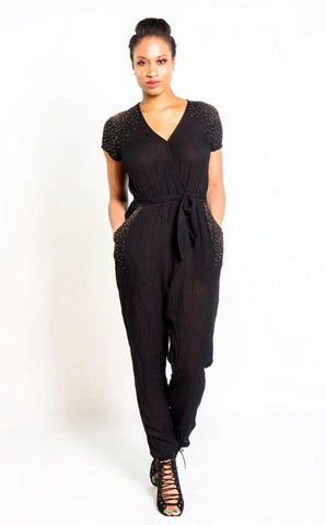 Stylized Feather Strappy Jumpsuit in Navy + Cream