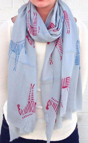 Dancing Lotus Cashmere Scarf in Blue
