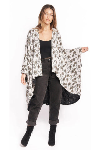 Ginkgo Leaf Kimono Jacket in Navy & Cream