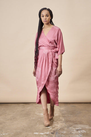 Ginkgo Leaf 'Cropped' Midi Dress in Magenta + Gold
