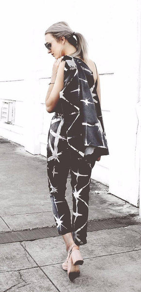 Silk Trousers in Black & Grey Tie Dye