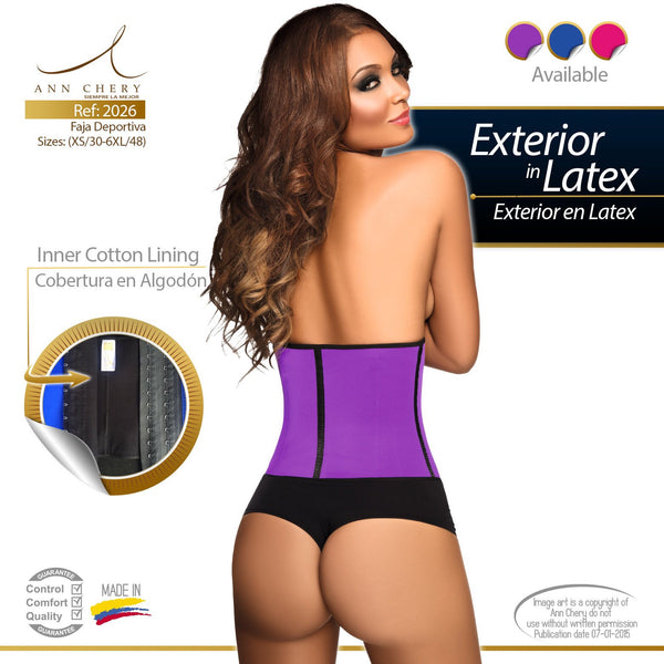 Ann Chery 2026 Latex Waist Shaper Blue/ Pink/ Purple