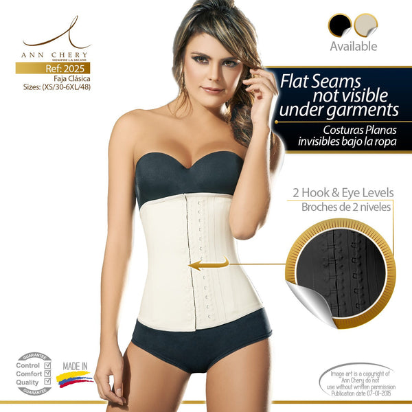 Ann Chery 2025 Classic 2 Hook Latex Waist Trainer Black/ Nude