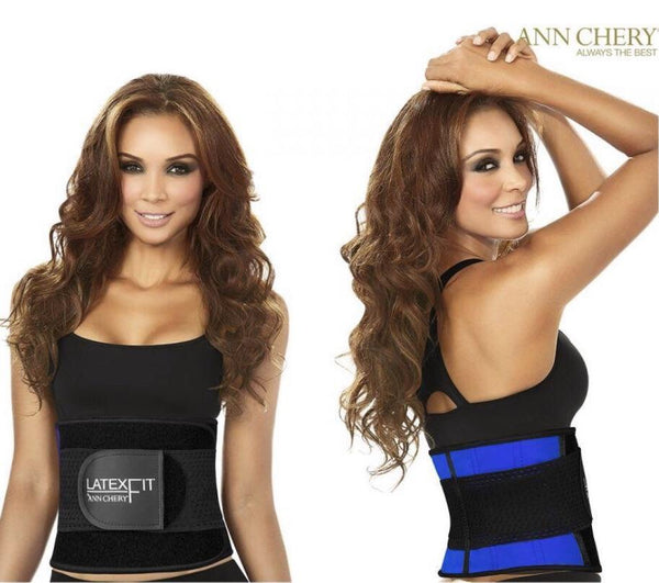 Latex Fit Workout Waist Trainer By Ann Chery 2051 Black/ Neon Blue