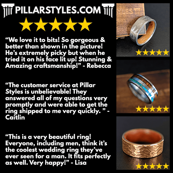 Pillar Styles Reviews for Mens Wedding Bands