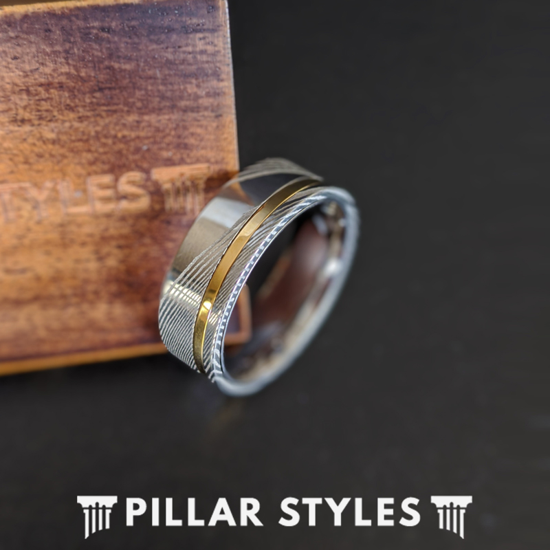 6mm /& 8mm Damascus Ring with Rose Gold Inlay Couple Rings Damascus Steel Ring Mens Wedding Band Unique Damascus Wedding Band Womens Ring