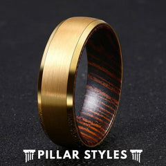 14K Gold Ring Tungsten Wenge Wood Ring Mens Wedding Band