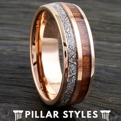 18K Rose Gold Ring Tungsten Meteorite Ring with Koa Wood