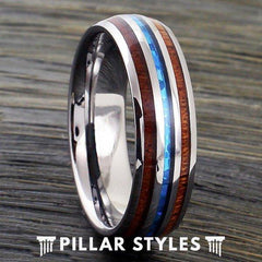 6mm/8mm Tungsten Koa Wood Ring with Opal Inlay