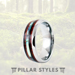 6mm/8mm Exotic Koa Wood Ring with Abalone Shell Inlay