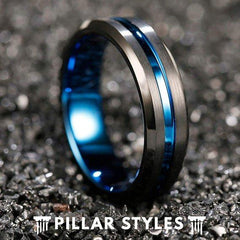 6mm Black Tungsten Wedding Band Mens Ring Blue Groove
