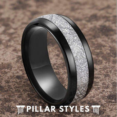 8mm Black Tungsten Meteorite Ring Mens Wedding Band
