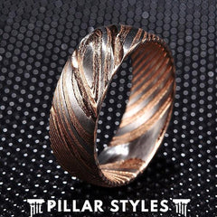 8mm Damascus Steel Ring Mens Wedding Band