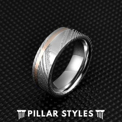 8mm Damascus Steel Ring with Rose Gold Inlay