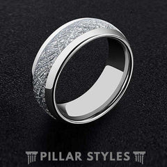 8mm Dual Silver Meteorite Tungsten Wedding Band Men
