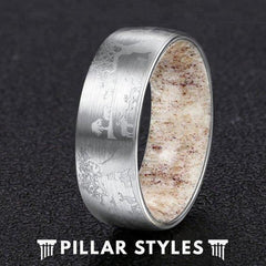 8mm Mens Wedding Band Deer Antler Ring Etched Silver Tungsten Ring