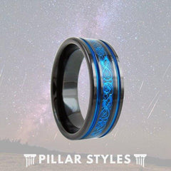 Black Tungsten Viking Ring Mens Wedding Band Blue Celtic Wedding Rings