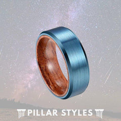 Blue Tungsten Ring with Koa Wood Inlay