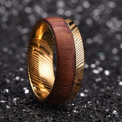 Damascus and Wood Wedding Band