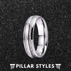 Dual Silver Meteorite Ring Mens Wedding Band