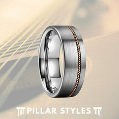 Guitar String Ring Mens Wedding Band