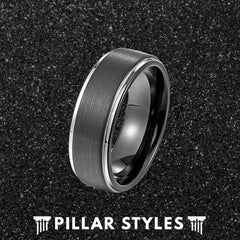 Gun Metal Grey & Silver Ring with Step Edges