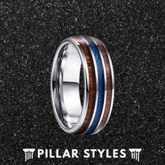 Hawaiian Koa Wood and Blue Meteorite Mens Wedding Band