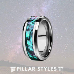 Mens Abalone Shell Tungsten Wedding Ring