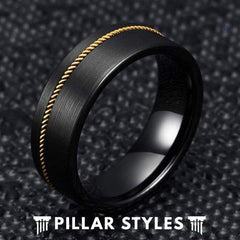 Mens Guitar String Tungsten Wedding Band