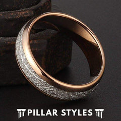 Rose Gold Meteorite Tungsten Ring