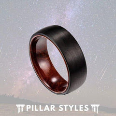 Rose Wood Ring Black Tungsten Wedding Band
